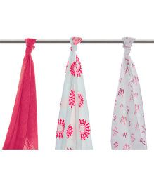 Mulmul Naturals Swaddle Wrapper Pink White - Set of 3