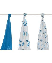 Mulmul Naturals Swaddle Wrapper Blue White - Set of 3