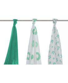 Mulmul Naturals Swaddle Wrapper Green White - Set of 3