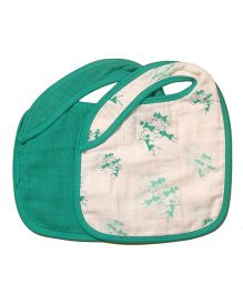Mulmul Naturals Warli Design Bibs Green - Set Of 2