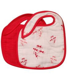 Mulmul Naturals Warli Design Bibs Red - Set Of 2