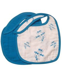 Mulmul Naturals Warli Design Bibs Blue - Set Of 2