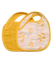 Mulmul Naturals Warli Design Bibs White Yellow - Set Of 2