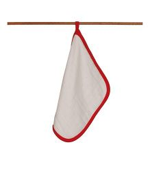 Mulmul Naturals Wash Cloths - White Red