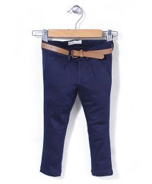 Vitamins Full Length Trouser With Belt - Navy Blue