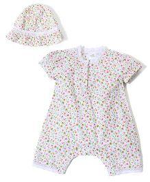 Babyhug Cap Sleeves Romper With Cap Floral Print - White