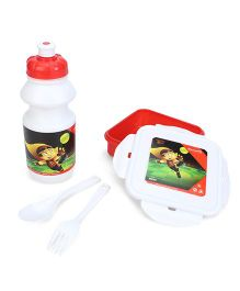 Mighty Raju Lunch Box Set - Red And White