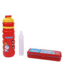 Doraemon Sipper Bottle with Ice Tube and Pencil Box Set - Red and Yellow