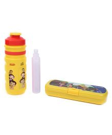 Chhota Bheem Sipper Bottle with Ice Tube and Pencil Box Set - Red and Yellow