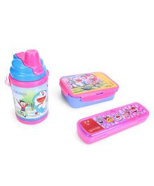 Doraemon Pencil Box, Sipper Bottle and Two Piece Lunch Box Set - Pink and Blue