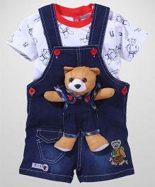 Wow Denim Dungaree With Contrast Neckline T-Shirt Teddy Applique - Navy White