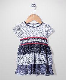 Babyhug Short Sleeves Layered Dotted Frock - White & Black