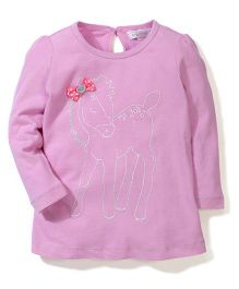 Pumpkin Patch Full Sleeves Top Bow Applique - Light Pink