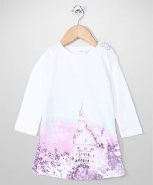 Pumpkin Patch Full Sleeves Top Castle Print - White
