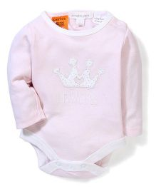 Pumpkin Patch Full Sleeves Bodysuit Crown Embroidery - Light Pink