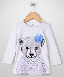 Pumpkin Patch Full Sleeves Top Floral Applique - Light Grey