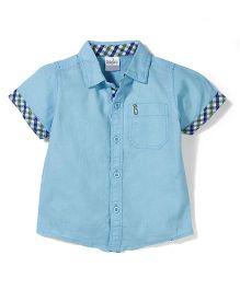 Babyhug Half Sleeves Shirt - Sky Blue