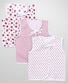 Babyhug Sleeveless Jhabla Set Of 3 - White Red