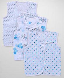 Babyhug Sleeveless Jhabla Set Of 3 - White Light Blue