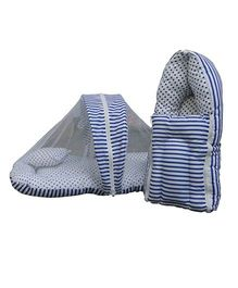 Luk Luck Port Baby Sleeping Bag With Mosquito Net Combo Gift Set - Blue
