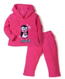 Kanvin Hooded Top And Pajama Penguin Embroidery - Fuchsia