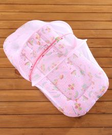 Babyhug Bedding Set With Center Zip Mosquito Net Transport In Star Print- Pink