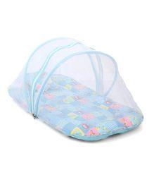 Babyhug Bedding Set With Center Zip Mosquito Net Small N Big Cars Print- Blue