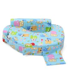 Babyhug Feeding Pillow Animals With Heart Print - Blue