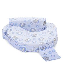 Babyhug Feeding Pillow Teddy & Hearts Print - Blue