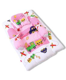 Babyhug Gadda Set Big Transport Print - Pink
