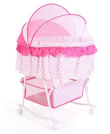 Rocking Bassinet With Mosquito Net Polka Dot Print - White And Pink