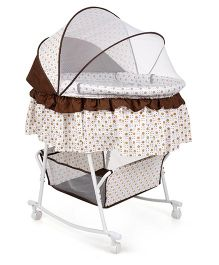 Rocking Bassinet With Mosquito Net Polka Dot Print - White And Coffee Brown