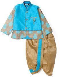 Babyhug Full Sleeves Kurta And Dhoti - Blue Golden
