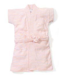 Babyhug Half Sleeves Striped Bathrobe - Peach