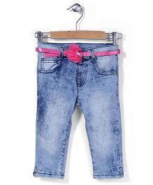Mothercare Super Soft Acid Wash Jeans With Belt - Light Blue