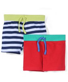 Mothercare Striped And Plain Shorts Pack Of 2 - Red & Multicolor