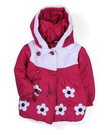 Babyhug Floral Patched Hooded Jacket - Dark Pink