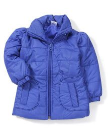 Babyhug Full Sleeves Plain Jacket - Blue