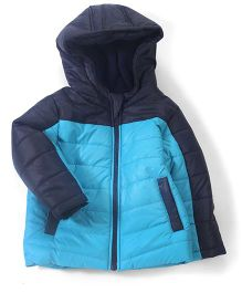 Babyhug Full Sleeves Hooded Jacket - Blue