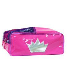 Oyster Kids Silver Crown Shoe Pouch - Pink