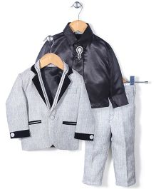Babyhug Party Suit With Brooch Studded Tie - Grey & Black