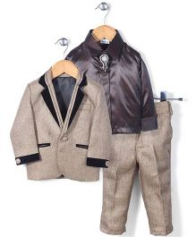 Babyhug Party Suit With Brooch Studded Tie - Beige & Brown