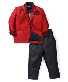 Babyhug 4 Piece Party Suit - Red Black