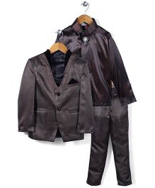 Babyhug 4 Piece Party Suit - Coffee Brown