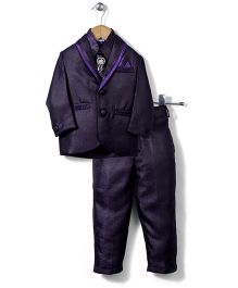 Babyhug Party Suit With Brooch Studded Tie - Purple