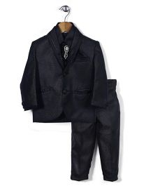 Babyhug Party Suit With Brooch Studded Tie - Black