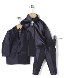 Babyhug Party Suit With Brooch Studded Tie - Dark Grey