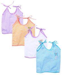 Babyhug Embroidered Shoulder Tie-Up Pack Of 4 - Multi Color