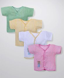 Babyhug Half Sleeves Embroidered Front Open Pack Of 4 Jhablas - Green Yellow Pink White