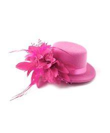 Princess Cart Hat Alligator Clip - Hot Pink